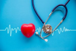 a heart, heartbeat line, and a stethoscope