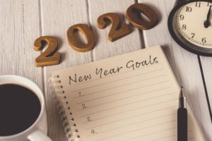 notebook with a list of goals for the new year