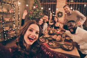 Holiday party celebrating safely as recommended by Marysville dentist